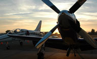 aircraft at Yolo County Aiport sunset
